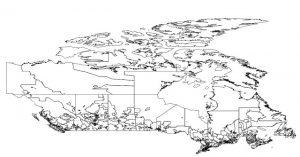 Map of Canadian forward sortation postal areas.